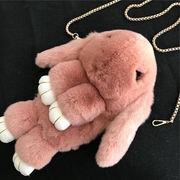 Borsa della borsa della borsa del messaggero della spalla dello zaino della bambola del coniglietto della pelliccia del coniglietto di Peach / Pink-Cute Real-Pink