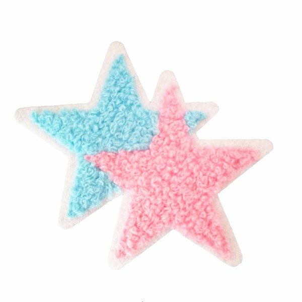 Terry cloth patch 9.5cm * 7.5cm Double star appliques sweater knitting overcoat hand sewing decorative patch clothing accessories DL_CPIS012