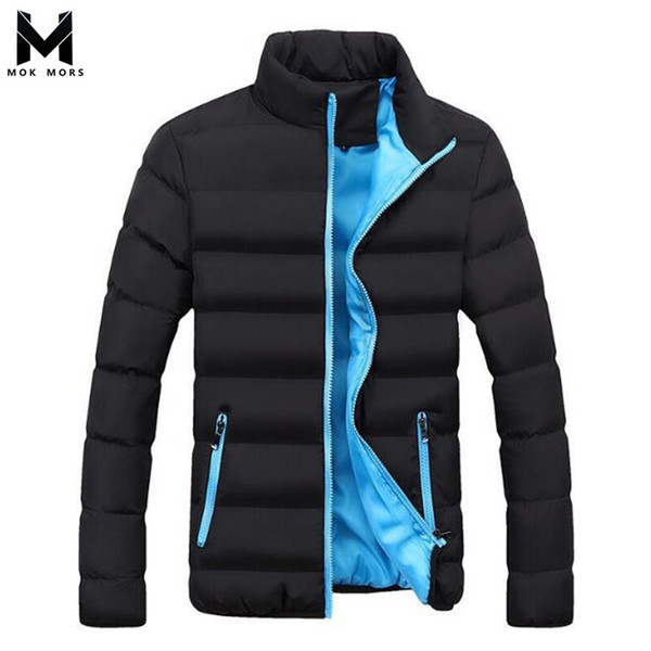 Winter Men's New Solid Color Stand Collar Thick Down Feather Cotton Fashion Brand Casual Slim Joker Long Sleeve Men jacket