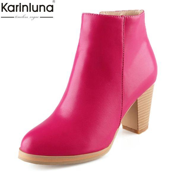 KarinLuna 2018 large size 33-43 hoof high heels add fur boots woman shoes zip up wholesale elegant shoes woman Ankle Boots