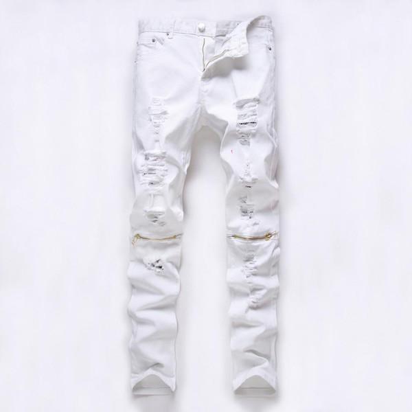Satın Al Kırmızı Beyaz Siyah Yırtık Kot Pantolon Diz Delik Fermuar