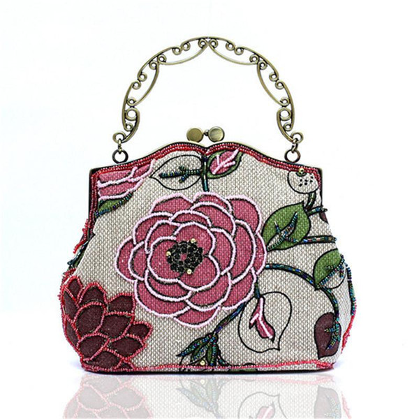 Wholesale- New Arrival Famous Chinese National Style Messenger Bag Women Embroidery Flower Evening Bag Make-Up Date Dinner handbag WY76