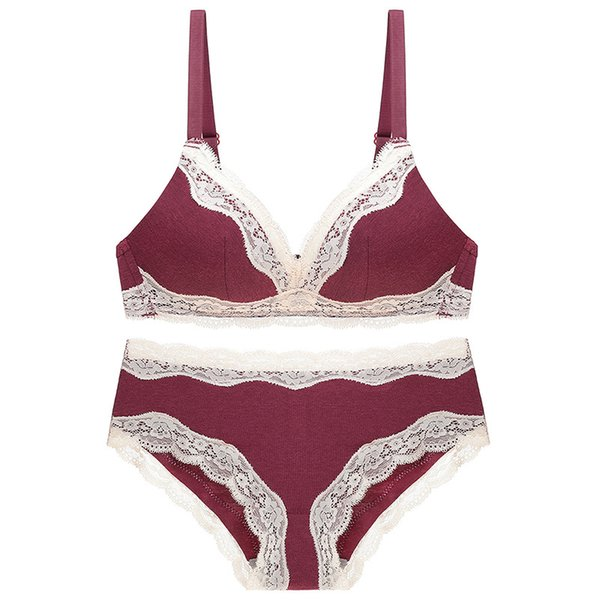 Soft, warm, no steel ring, underwear set, lace bra sexy set, lady comfort cotton cup AB cup.