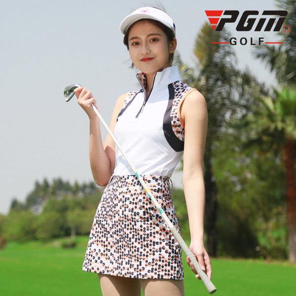 PGM Golf Sleeveless T-shirt For Women Leopard Standing Collar Breathable Women's Polo Sport Vest Quick Dry Golf Wear Waistcoat