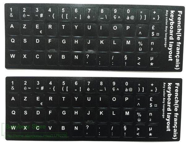 Autocollant de clavier français 500pcs / lot Franch AZERTY Pour clavier d'ordinateur de bureau d'ordinateur portable Stickers 11.6 12 13.3 14 15.4 17.3 pouces clavier