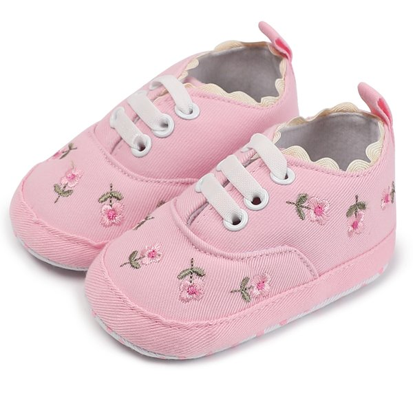 Moccasins Newborn Infant Walker Baby All Season Shoes Girls Floral Embroidered Lace-Up Soft Sole Footwear Booties