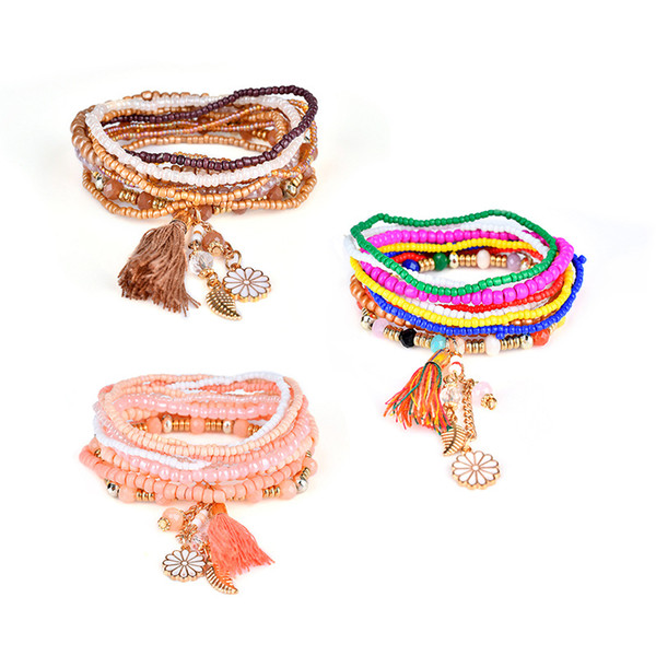 Fashion Bohemian Elastic Fringe Bracelet Charm Multilayer Pendant Chain Tassel Bracelet Stretch Beach Bangle for Women's Jewelry Gift H880F