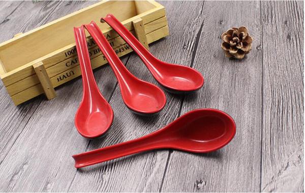 300 pçs / set Vermelho Preto Cor Casa Talheres Japonês Tigela De Plástico Sopa De Mingau Colher