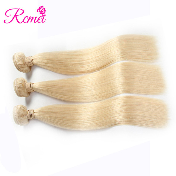 Rcmei Indian Straight Remy human Hair Weft 3 PCS #613 long blonde Human Hair Weave hair Bundles 10-28inch Free Shipping