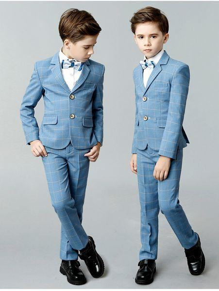 Costume bleu ciel élégant pour garçon deux à cinq pièces (veste + pantalon + gilet) Ensembles de vêtements et au-dessus de damier en tissu à carreaux de mariage pour enfants