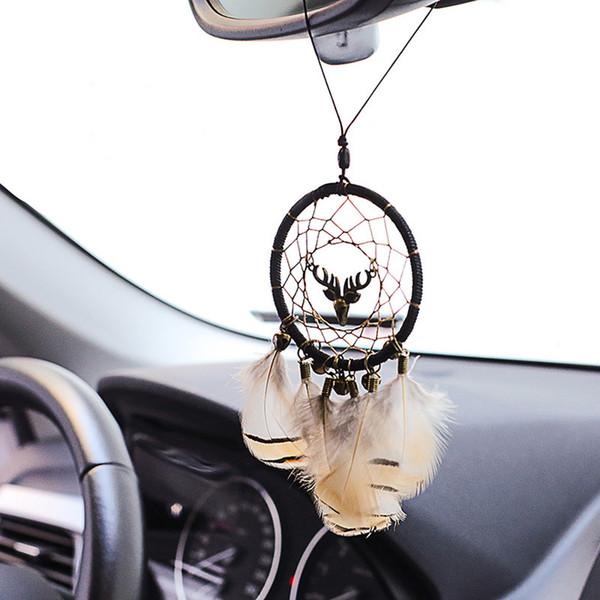 Auto Anhänger Indianer Deer Feder Ornament Dreamcatcher Handwerk Auto Rückspiegel Trim Dekoration Zubehör Schmuck Geschenke
