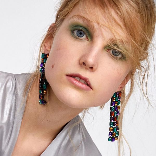 AOTEMAN 2018 New Arrival Crystal Dangle earrings featuring multicoloured square rhinestones Tassels Fringed Earrings ZA Jewelry S914