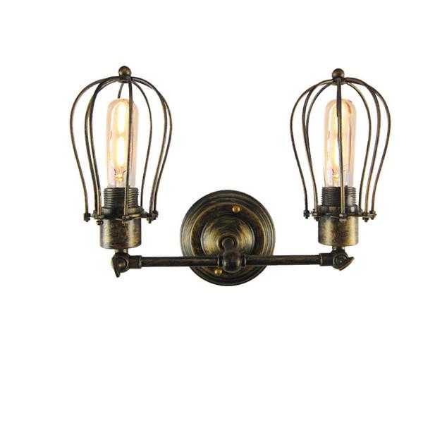 Vintage E27 Mur Lampe Rétro Loft LED Mur Lumière Lamparas Simple Double tête Escalier Salle De Bains Fer Sconce Edison ampoule