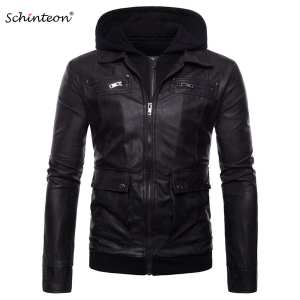 Schinteon M-5XL Motorcycle Leather Jacket Outwear Double-layer Collar Pocket Brown Black with Hood Fake two pieces Men