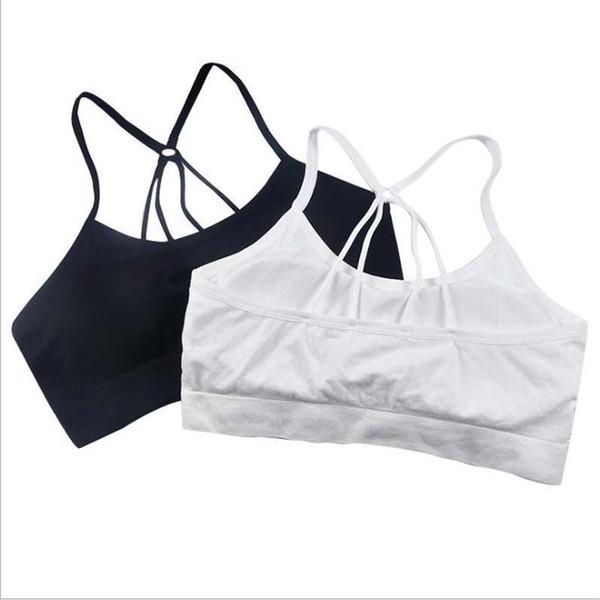 200Pcs Fashion Sports Bra Wire Free Fitness Women Running Bras Top Padded Yoga Brassiere Sports Top Bralette Black White