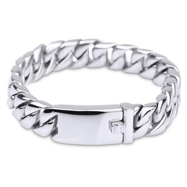 12mm Bracelet for Men Matte Round Curb Cuban Link Bracelet Punk Cool 316L Stainless Steel Bracelet Mens Jewelry 20cm 22cm