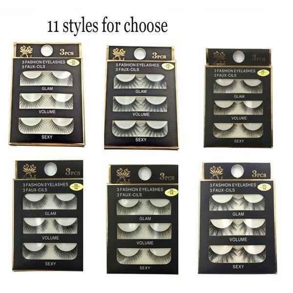 3D false eyelashes Handmade 3 Pairs/set Beauty Thick Long Soft lashes Fake Eye Lashes Eyelash Sexy High Quality free shipping