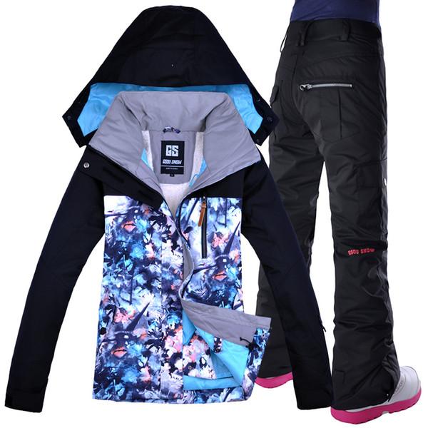 GSOU SNOW Ski Jacket Pants Winter Outdoor Skiing Snowboard Suit Set Jacket Pants Snow Clothes  Women Ski Suit Waterproof