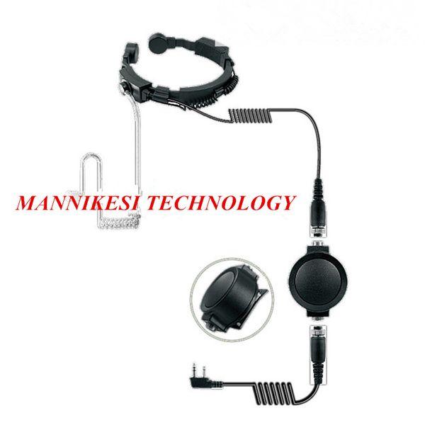 Big PTT Telescopic Throat Mic Earpiece Headset Military Covert Grade Tactical Waterproof for KENWOOD Baofeng UV-5R Radio