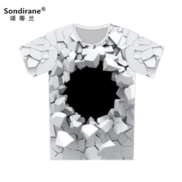 New 3D Print Psychedelic Creative Hole White T Shirts Summer Short Sleeve Quick Dry T Shirt Hip Hop Streetwear Clothes