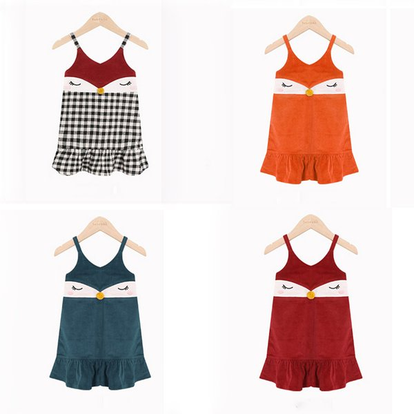 Kızlar Yelek Elbiseler Patchwork Tilki Yüz Tasarım Askı Mermaid Prenses Etekler Ekose Yürüyor Çocuk Kıyafet 2-4 T