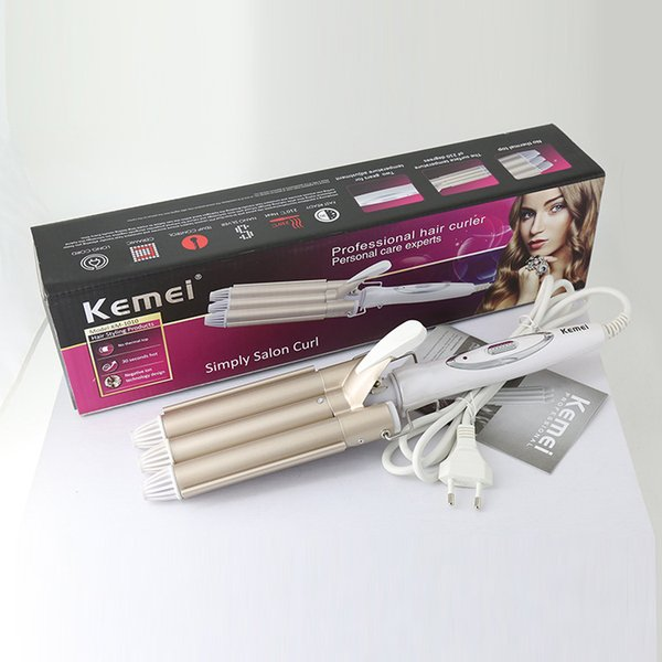 KEMEI 1010 Haute Qualité Pro 110-220V Fer À Friser Céramique Triple Baril Cheveux Bigoudi Waver Styling Outils Styler 10PCS / LOT