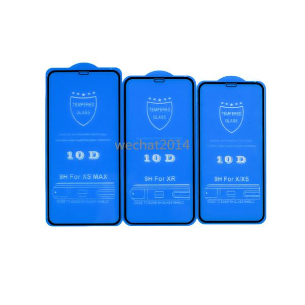100PCS 10D Protector de pantalla de cubierta completa 9H Protector de pantalla de fibra de vidrio de vidrio templado para iPhone X 6 6s 7 8 Plus Xs Max