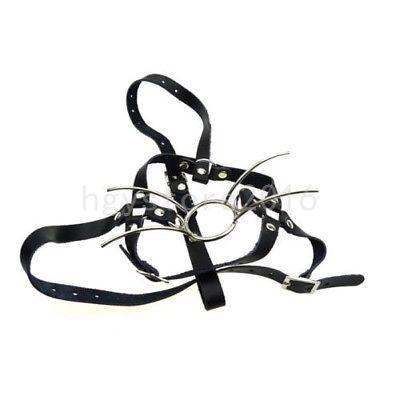 Leather Adjustable Belt Steel Spider Mouth Gag Head Harness Mask open strap game #G94