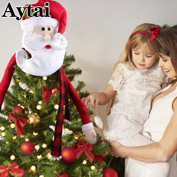 wholesale Santa Claus Christmas Tree Toppers Decoration Ornaments Christmas Tree Decorations For Home Shops Party Xmas New Year