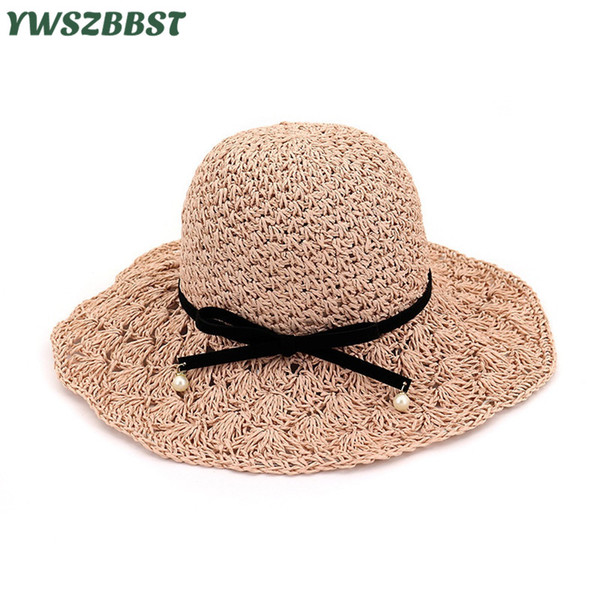 5beee3374 New Women Sun Hats Summer Female Wide Large Brim Foldable Straw Hat Bowknot  Accessories Women Sunscreen Cap Beach Bucket Hat Flat Brim Hats Mens Straw  ...
