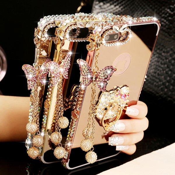 For HTC U11 A9 U ultra Aluminium Metal Bumper Case For HTC M8 M9 M10 530 630 626 628 10 PRO Butterfly Diamond Mirror Case Cover