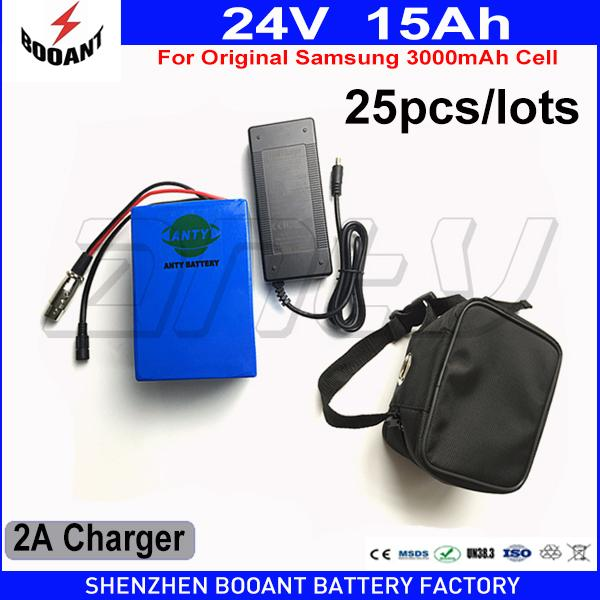 wholesale 25pcs/lots lithium battery 24v 15ah 500w for samsung 30b cells 30a bms with waterproof bag and 2a charge ing