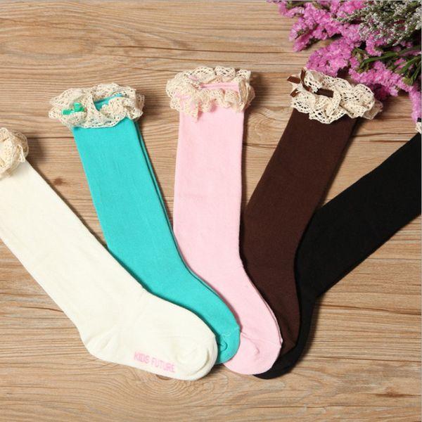 5 Farben Mädchen Soild Farbe Schöne Weiche Schwefel Baumwolle Mit Spitze Bodenbildung socken Baby Mädchen Tanzen Lange Rohr Socken 0-8 T 10 stücke = 5 paare