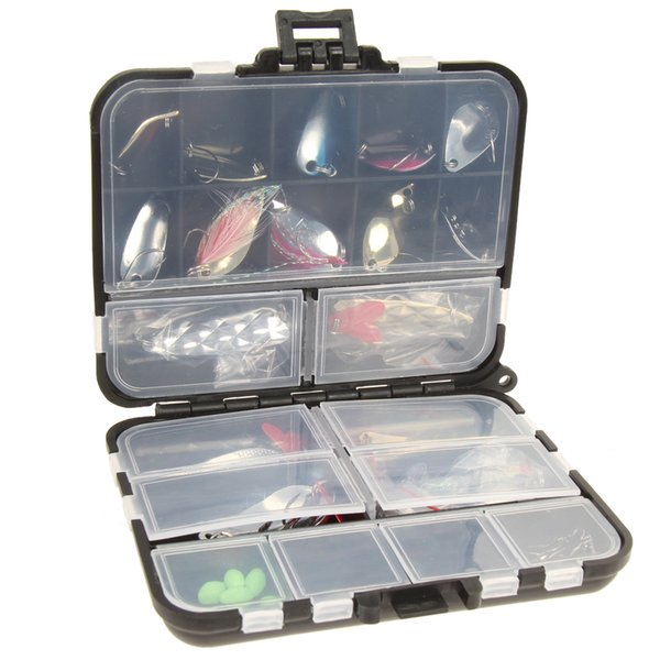 New 37 Pcs/Set Metal Spoon Fishing Lure Kits Spinning Lures with Box Fishing Tackle High Quality Artificial Fishing Lure Y18100906