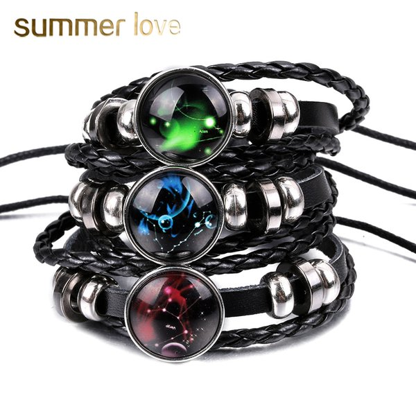 Fashion 12 zodiac constellation black leather bracelet bangle handmade personalized adjustable multi-layer braided bracelet birthday gifts