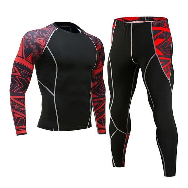Winter Thermal Underwear Set Men's Sportswear Running Training Warm Base Layer Compression Tights Jogging Suit Men's Gym MMA
