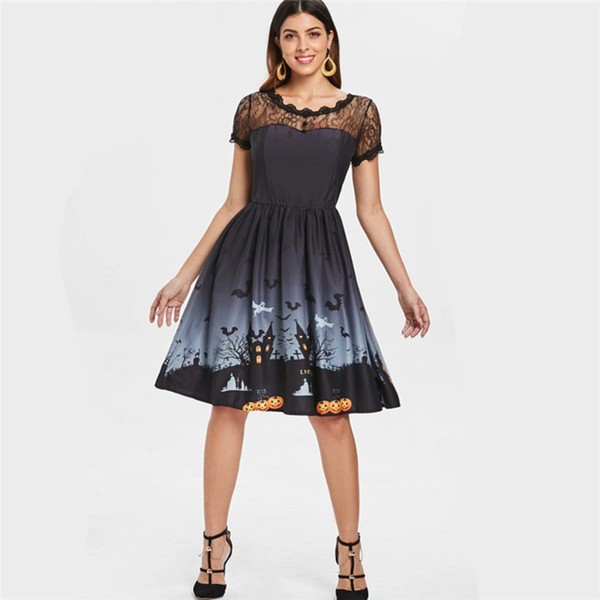 Woman Dresses Short Sleeve Lace patchwork neck Pumpkin Black Cat Printed Vintage Pin up Rockabilly Skater Halloween Party dress