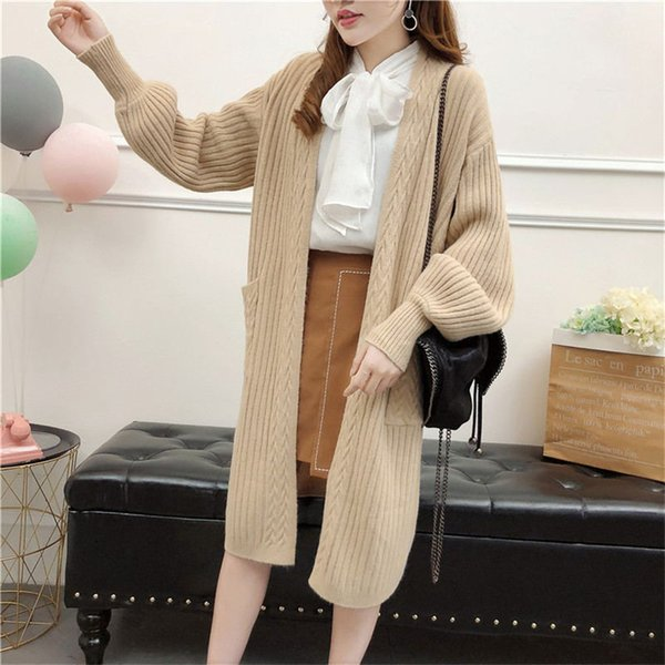 Winter Autumn Fashion Long Knitted Oversized Cardigan Sweaters Overcoats Overwear With Pockets Batwing Sleeve Street Style FS5894