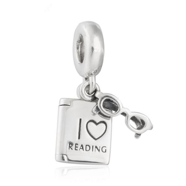 Original 925 Sterling Silber Ich liebe Dangle Gläser Rahmen und Buch Anhänger Charm Perlen für Schmuck machen DIY Zubehör