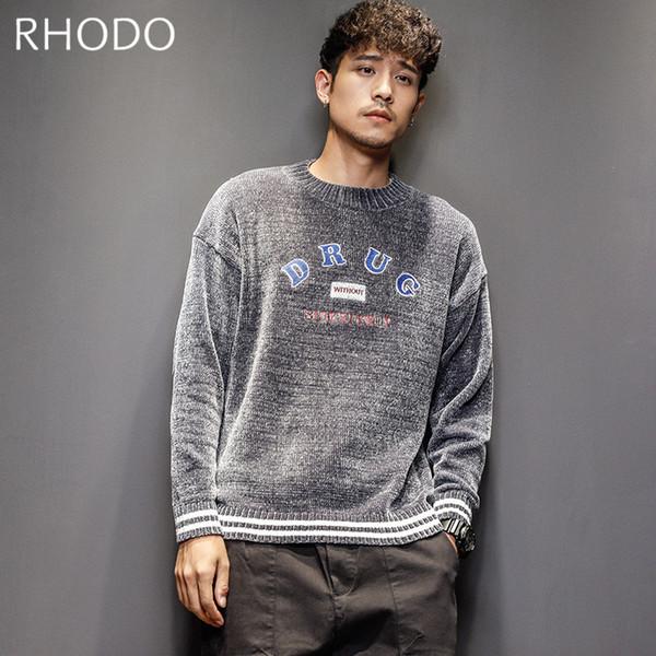 Мужской свитер AutumnWinter мода вышивка теплый толстый пуловер повседневная Slim Fit твердые свитер O-образным вырезом M-2XL