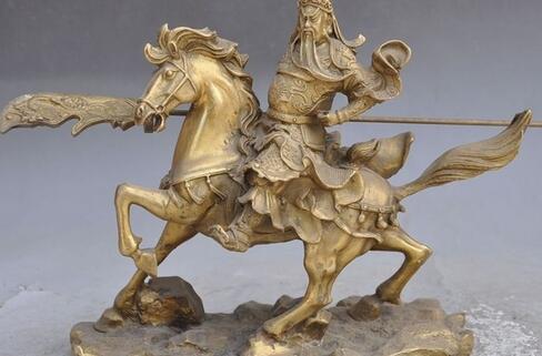 """9""""Chinese brass dragon Warrior Guan Gong guanYu Kuan Kung God Ride Horse statue"""