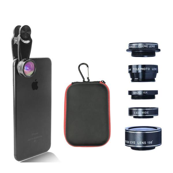 Kogngu 5 1 Balıkgözü Kamera Lensleri Geniş Açı Lente Makro Para Celular Telefoto Lens Cpl Lense Cep Telefonu Kamera Zoom Lens
