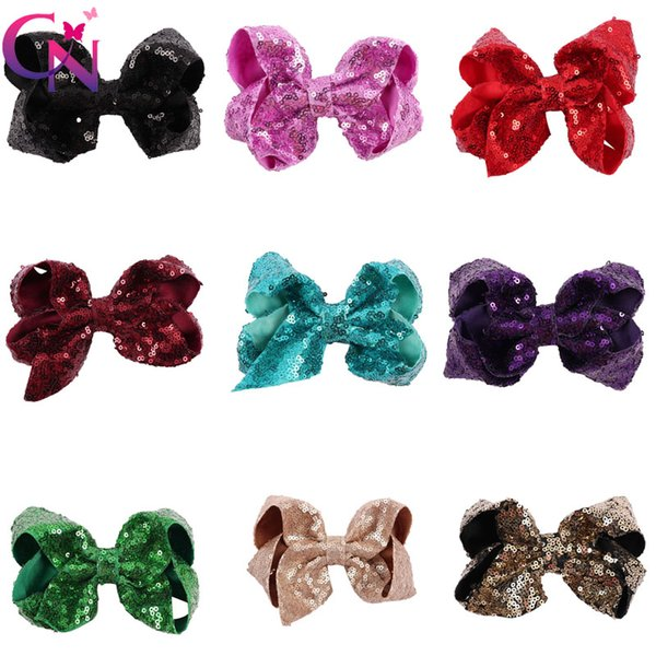 2018 New 5 Inch Sequin Sparkly Hair bow with Clip Boutique party supplies kids hair bows