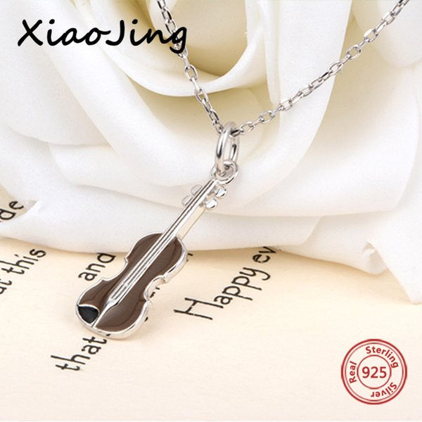 2018 new arrival 925 sterling silver brown violin pendant chain necklace European diy fashion jewelry making for women gifts