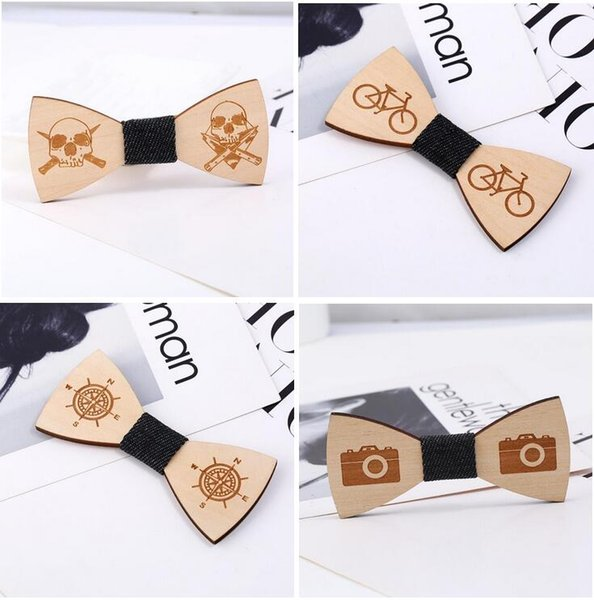 Fashion Vintage Wood Bow Ties Hand-carved Bicycle/Skeleton/Compass Bowknot For Gentleman Wedding Wooden Bowtie Free Shipping