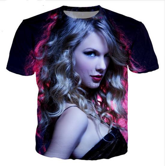 Toptan-Yeni Moda Erkek / Bayan Yaz Tarzı Şarkıcı Taylor Komik 3D Baskı Rahat T-Shirt Ücretsiz Kargo XBF0050