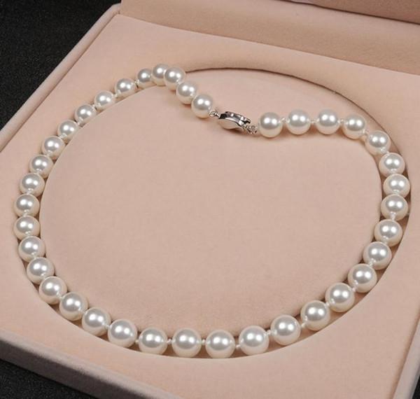 10mm Natural Sea Shell Perlenkette 18 Zoll Weiß Rosa Lila Perlen Halskette 925 Silber Verschluss