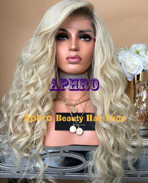 Premium Platinum Blonde Loose Wave Full Lace Silk Top Wigs Brazilian Virgin Hair Blonde Full Lace 5X5 Inch Silk Base Wigs With Dark Roots