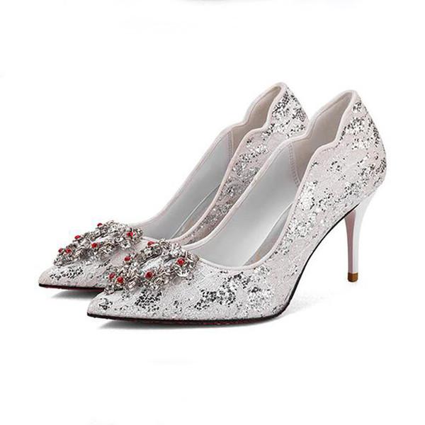 White Women Pump Bridal Crystal Shoes Red Wedding Shoes Fashion