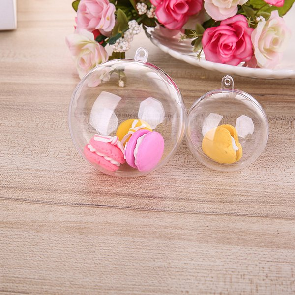 30pcs Mini Clear cake packaging Ball dessert transparent Plastic Macaroon candy Toy storage boxes for kid/baby/children gift